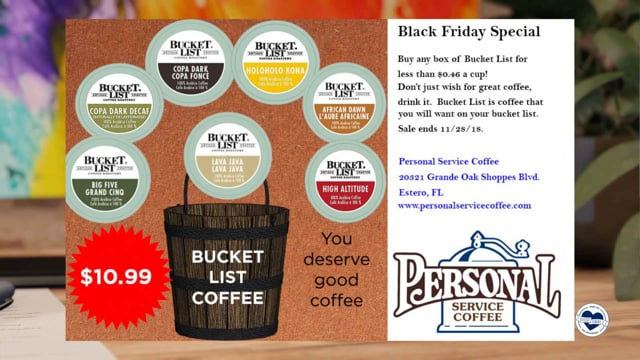 Personal Service Coffee Black Friday Specials
