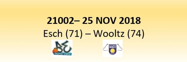 N1D 21002 Basket Esch (71) - Les Sangliers Wooltz (74) 25/11/2018
