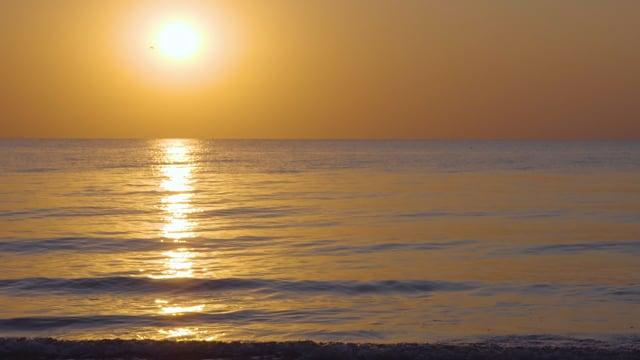 Sunrise over the Sea. Sea of Azov, Ukraine