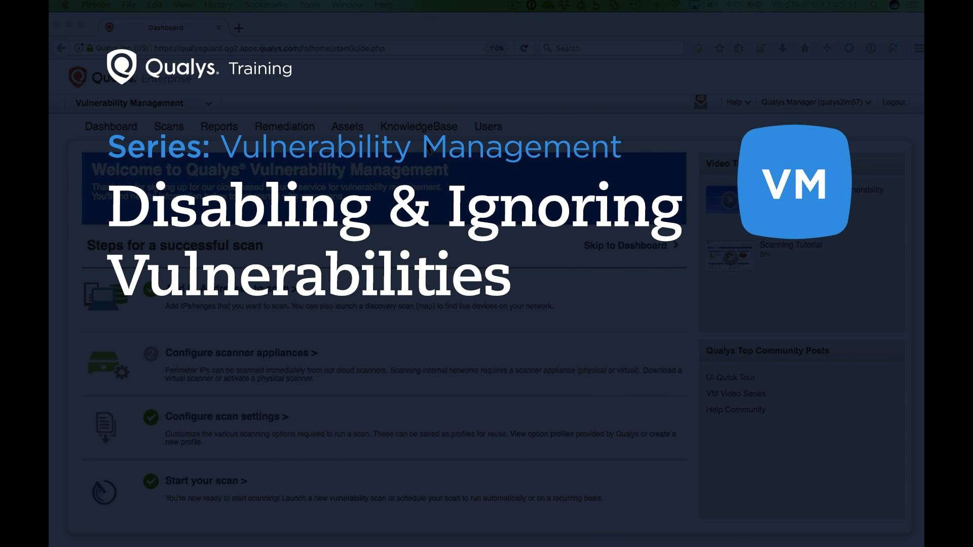 Disabling and Ignoring Vulnerabilities