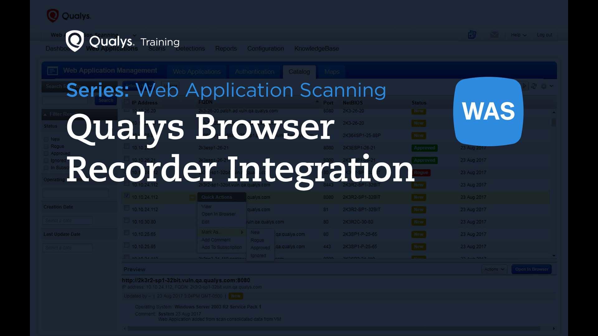 Qualys Browser Recorder Integration