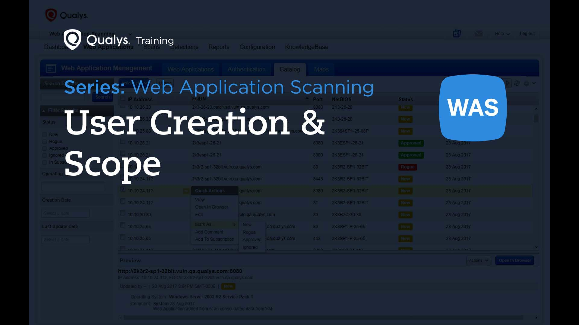 User Creation and Scope