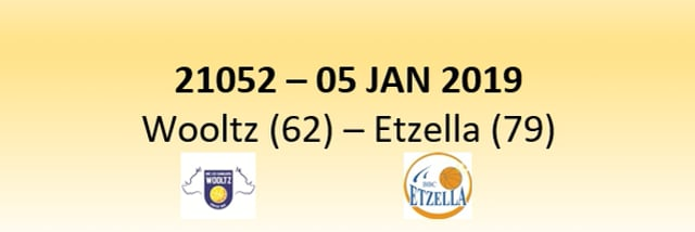 N1D 21052 Les Sangliers Wooltz (62) - Etzella Ettelbruck (79) 05/01/2019