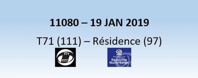 N1H 11080 T71 Dudelange (111) - Résidence Walferdsange (97) 19/01/2019