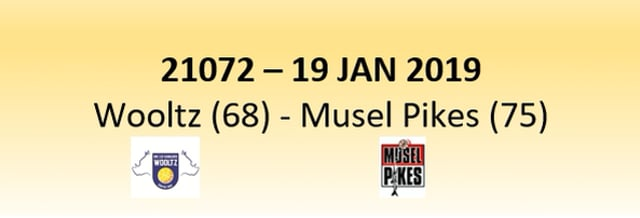 N1D 21072 Les Sangliers Wooltz (68) - Musel Pikes (75) 19/01/2019