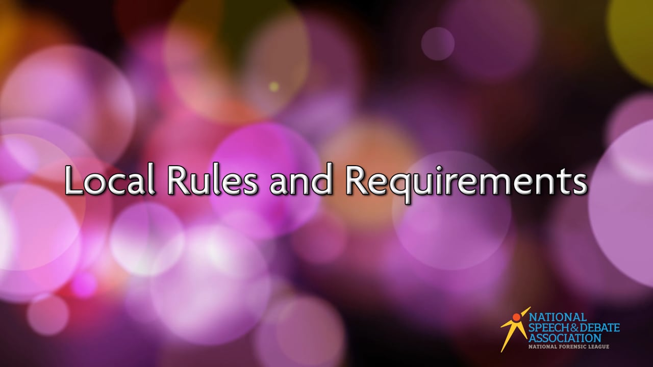 Local Rules and Requirements
