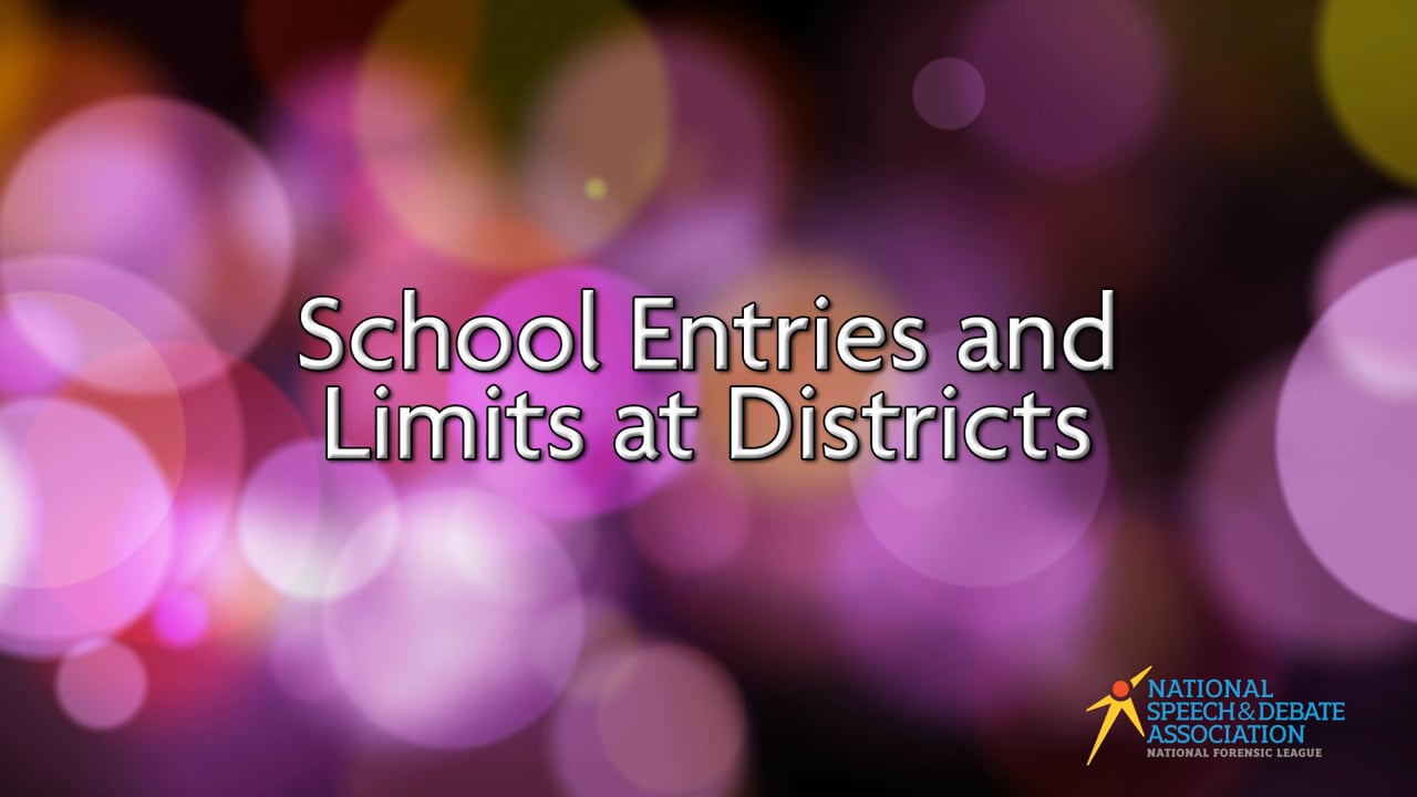School Entries and Limits at Districts