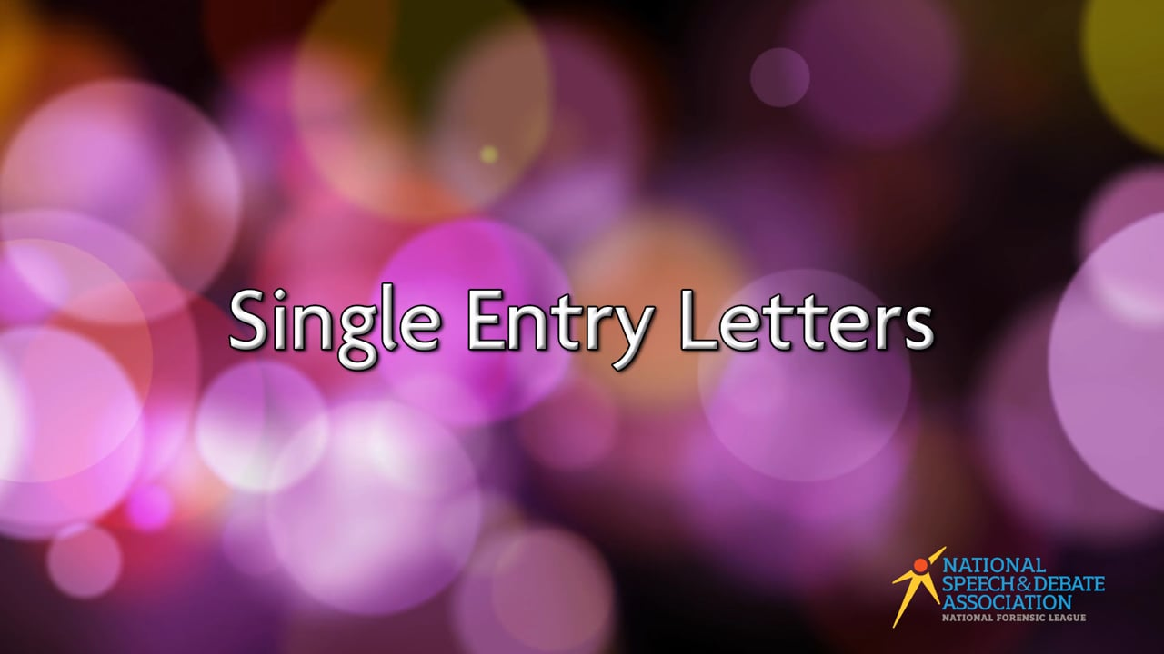Single Entry Letters