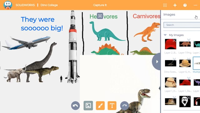 Use Capture It to create a collage of images, sketches and text