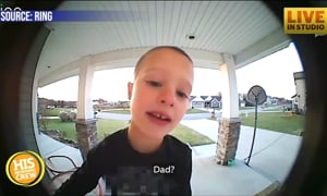 Clever Kid Gets Dad's Attention with Doorbell Camera