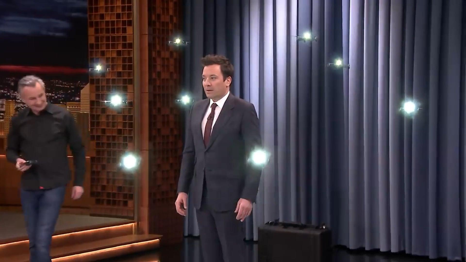 Jimmy Fallon Tonight Showbotics - Marco Tempest with his Mini Flyers