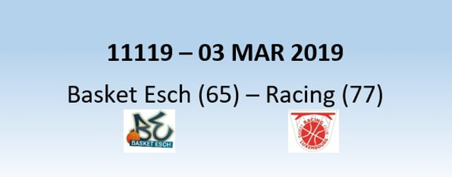 N1H 11119 Basket Esch (65) - Racing Luxembourg (77) 04/03/2019