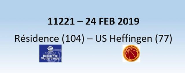 N1H 11221 Résidence Walferdange (104) - US Heffingen (77) 24/02/2019 - 1st half