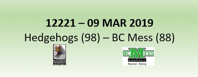 N2H 12221 Hedgehogs Bascharage (98) - BC Mess (88) 09/03/2019