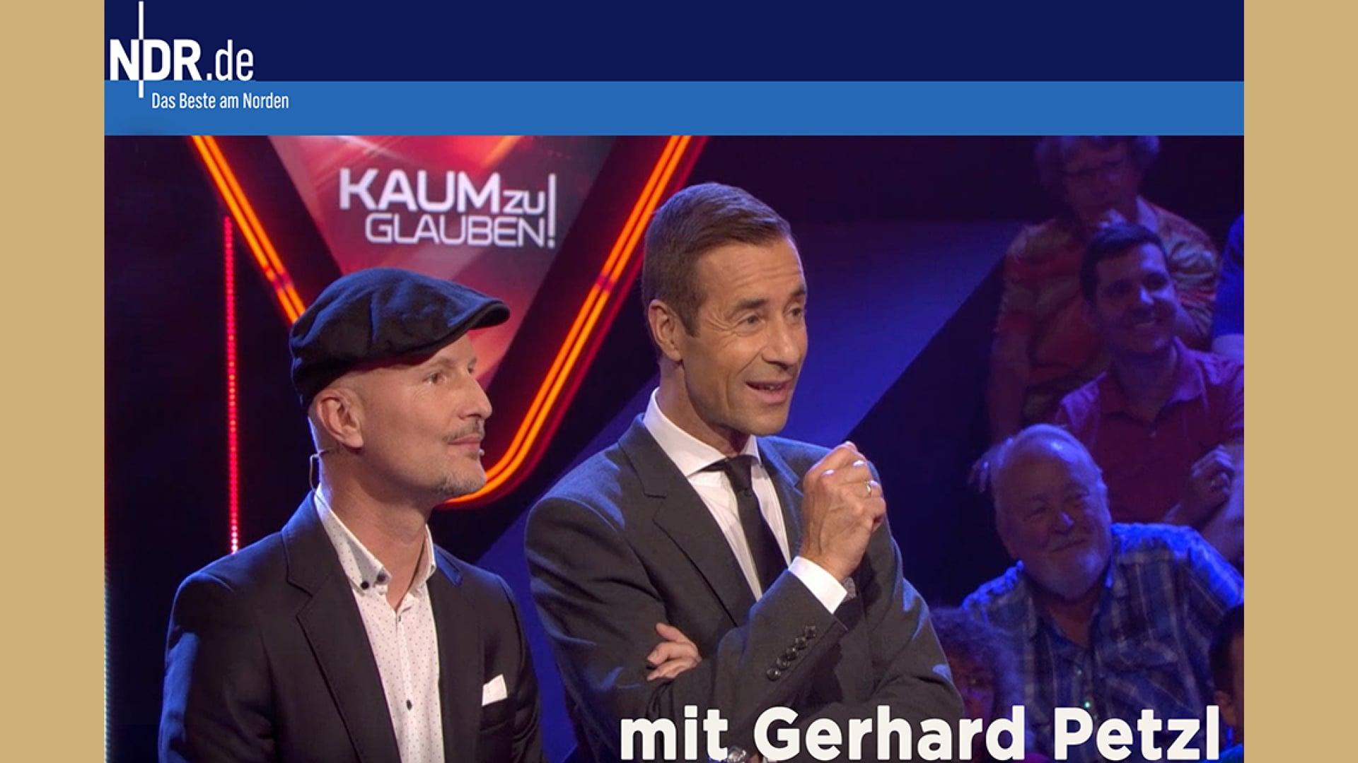 TV-NDR: Gerhard Petzl zu Gast im Studio bei Kai Pflaume