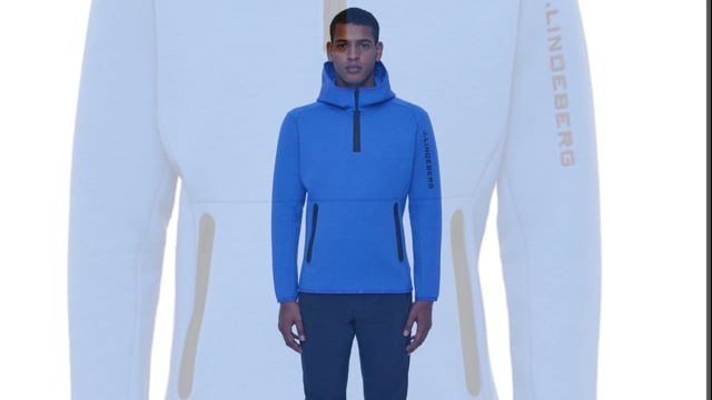 J LINDEBERG Logo Hood Tech Sweat Mens Midlayer in Daz Blue