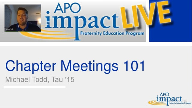 Chapter Meetings 101