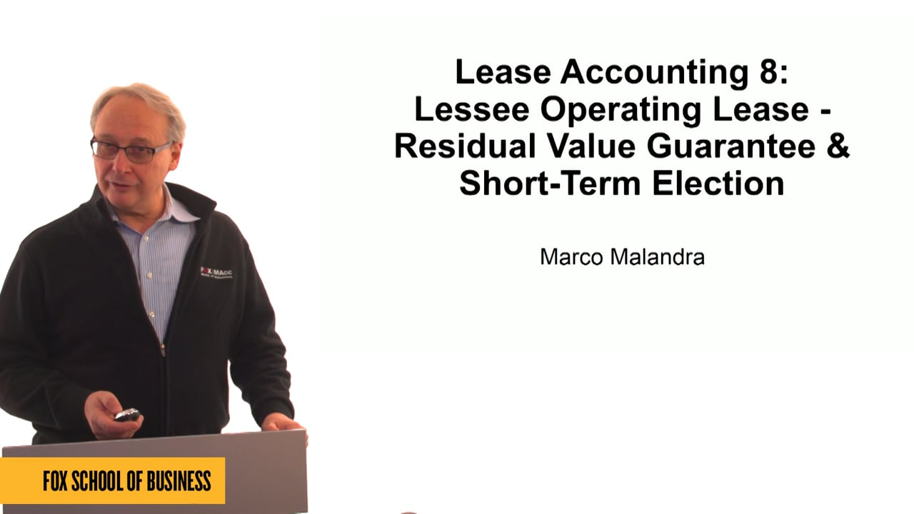 61311Lease Accounting 8: Lessee Operating Lease – Residual Value Guarantee & Short-Term Election
