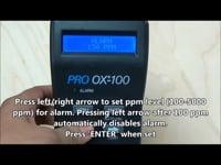 Oxygen Purge Monitor (Pro OX100) — Setting the Alarm