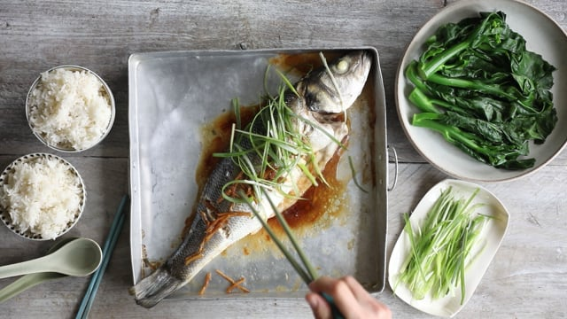 Seabass with Soy & Ginger/ Chinatown London