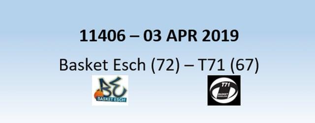 N1H 11406 Basket Esch (72) - T71 Dudelange (67) 03/04/2019