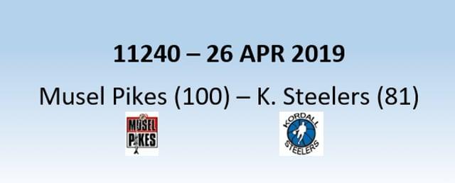 N1H 11240 Musel Pikes (100) - Kordall Steelers (81) 26/04/2019