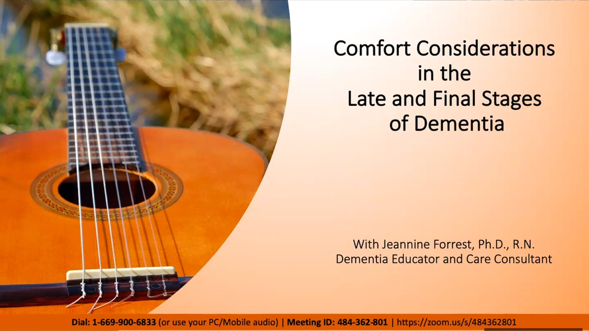 Comfort Considerations in Final Stages of Dementia