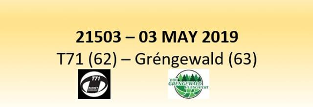 N1D 21503 T71 Dudelange (62) - BBC Gréngewald Hueschtert (63) 03/05/2019