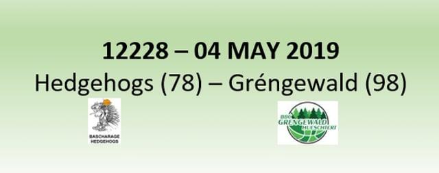 N2H 12228 Hedgehogs Bascharage (78) - Gréngewald Hueschtert (98) 04/05/2019