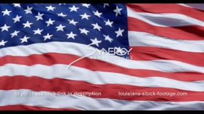 1288 extreme close up american flag blowing in breeze