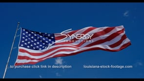 1273 American flag with blue sky stock footage video