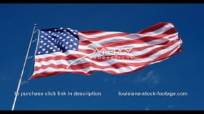1272 American flag dramatic angle blowing in high wind