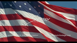 1271 epic American Flag ECU slow motion blowing in wind stock