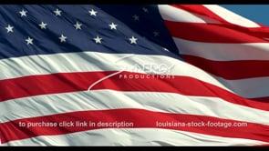 1267 ECU american flag waving in the wind slow motion