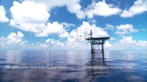 447 oil gas platform in flat calm gulf of mexico waters