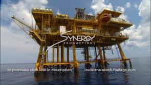 442 yellow oil rig gas platform close up