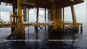 439 tilt up legs of oil rig gas platform near Texas Louisiana coast
