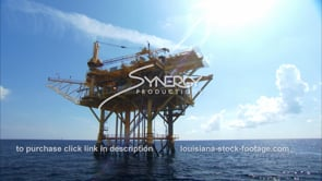436 Oil rig gas platform with backlite sunflare gulf of mexico