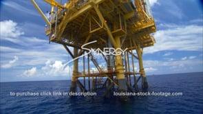 435 Oil rig gas platform legs in gulf of Mexico arc around platform legs