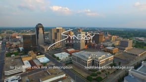 1250 shreveport skyline stock video footage drone aerial view video