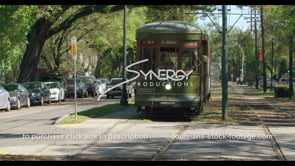 1101 Nice Iconic shot Streetcar video in New Orleans stock footage