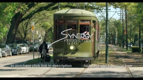 1091 New Orleans Streetcar on St. Charles Avenue stock video footage