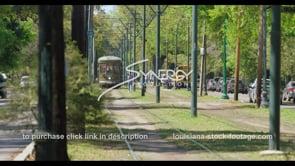 1083 New Orleans streetcar driving toward camera
