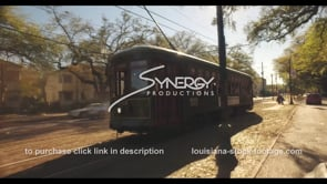 1067 New Orleans Streetcar drive by video stock footage