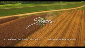 1042 aerial drone descent into farmer harvesting corn
