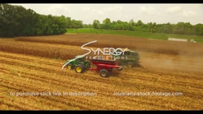 1043 cinematic corn harvest aerial drone view