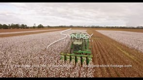 912 Epic cinematic fly over cotton harvester