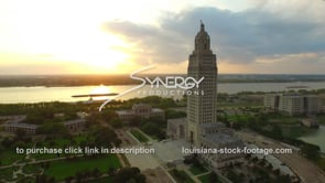 017 dolly around Louisiana state capital with baton rouge downtown skyline in background