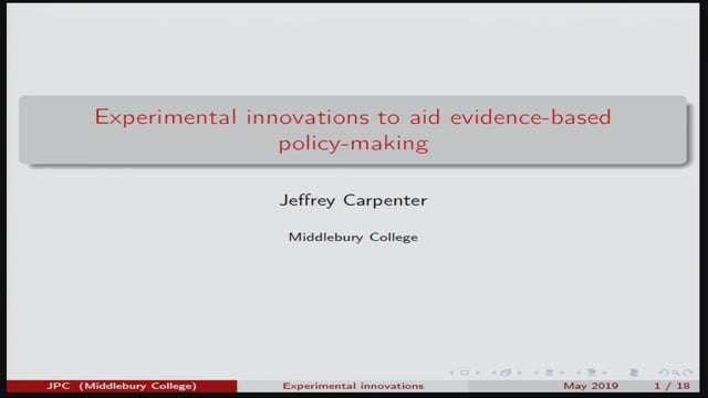 9. KEYNOTE: Prof. Jeffery Carpenter: Experimental innovations to aid evidence-based policy-making