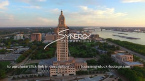 009 Louisiana State Capitol aerial drone arc right during golden hour